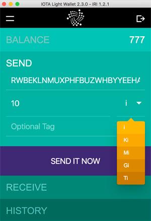 Send iota token